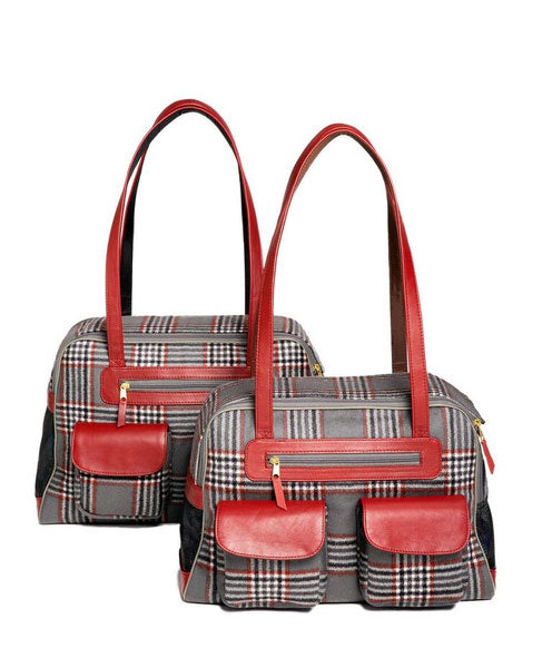 Dog Carrier - Cashmere Dog Carrier & Coat - Red, Black & Gray Classic Plaid