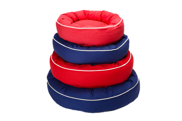Canine Styles - Cotton Canvas Beds w/White Piping - Red Bed - Blue Bed - Dog Bed