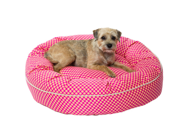 Canine Styles - Pink Follard Pattern - Nesting Bed - Dog Bed