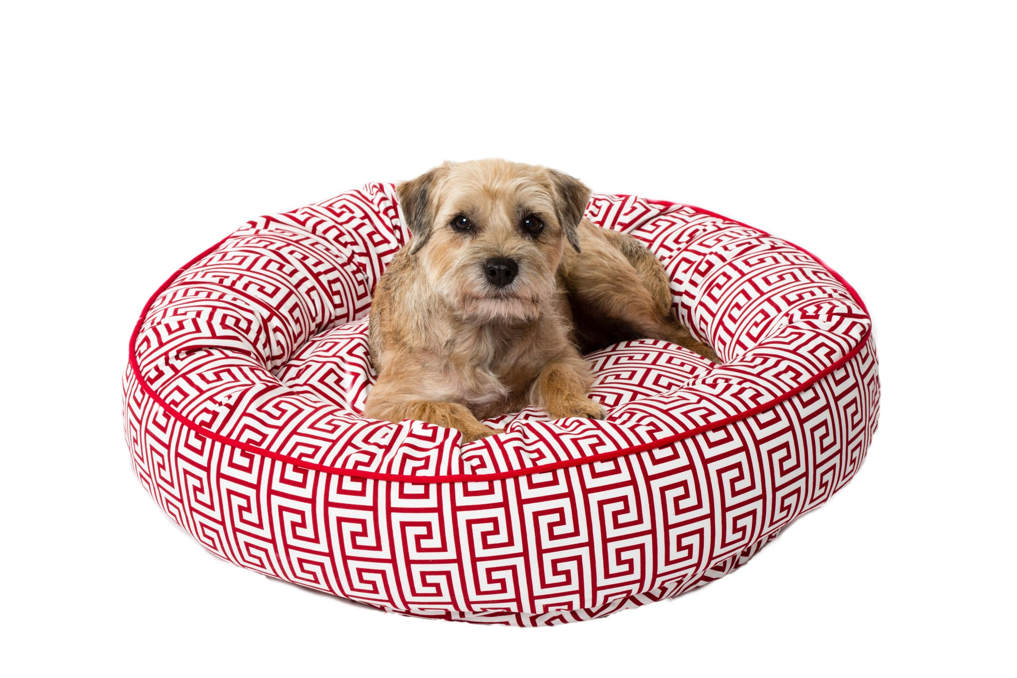Canine Styles - Red Greek Key - Nesting Bed - Dog Bed