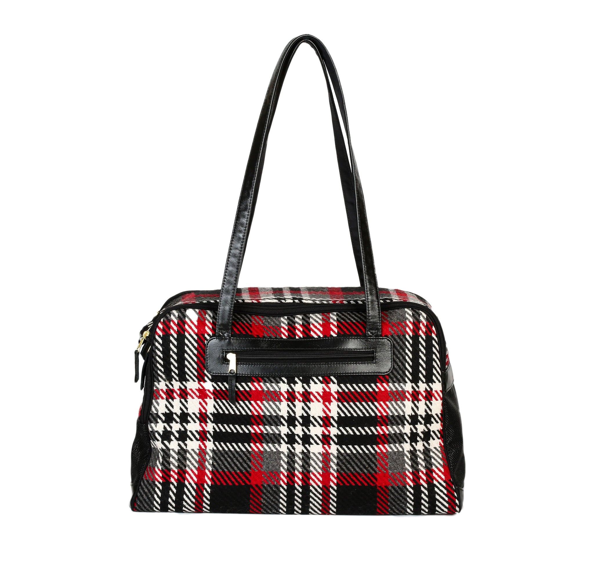 Dog Carrier - Wool Black and Red Plaid