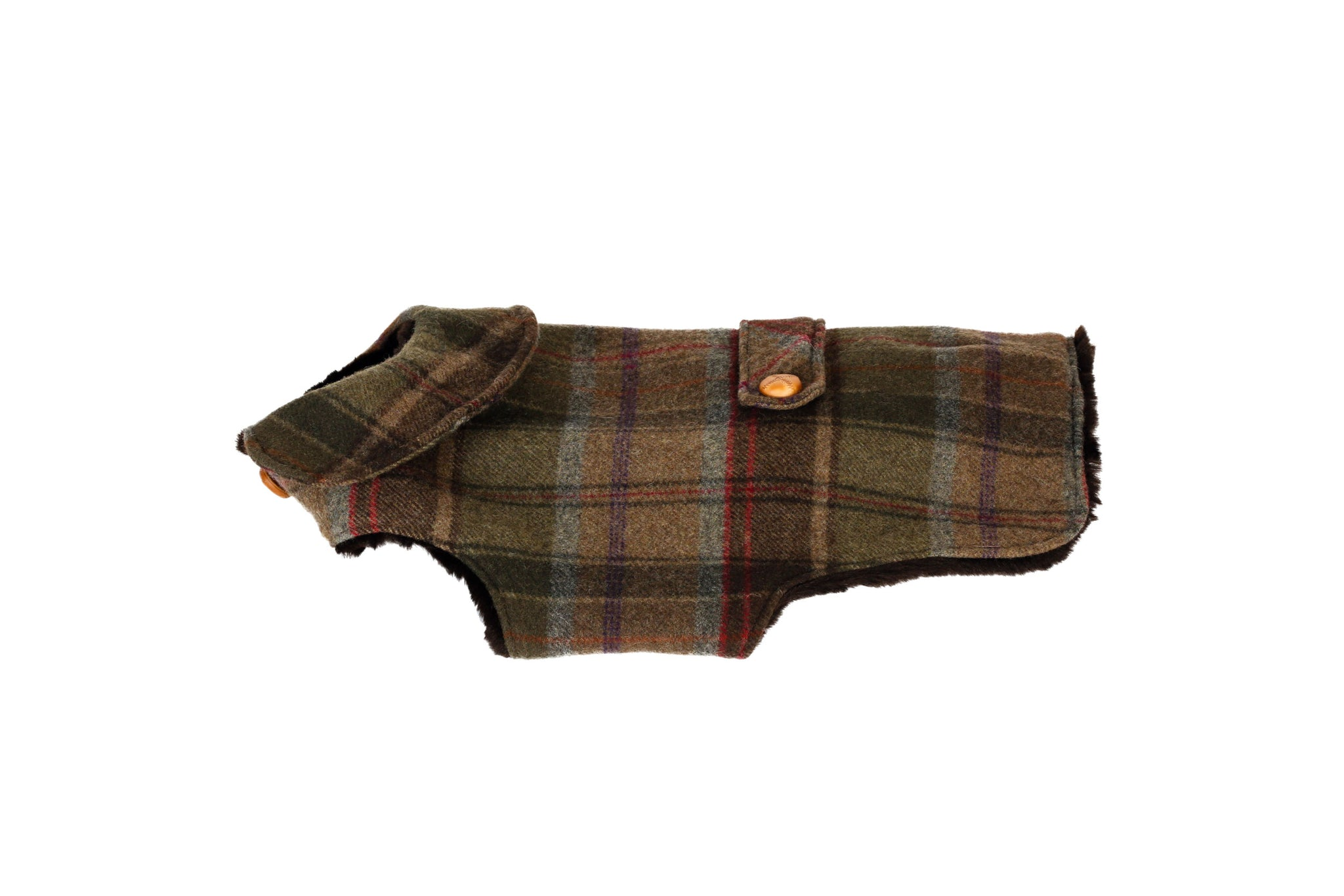 Cashmere, Faux Fur Lining, Green & Brown Plaid