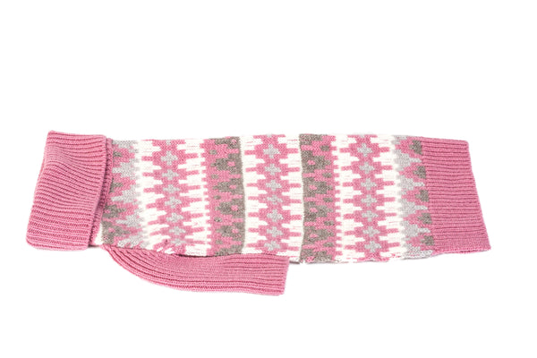 "Cashmere Dog Sweater - Geometric Pink 16"" & 18"""