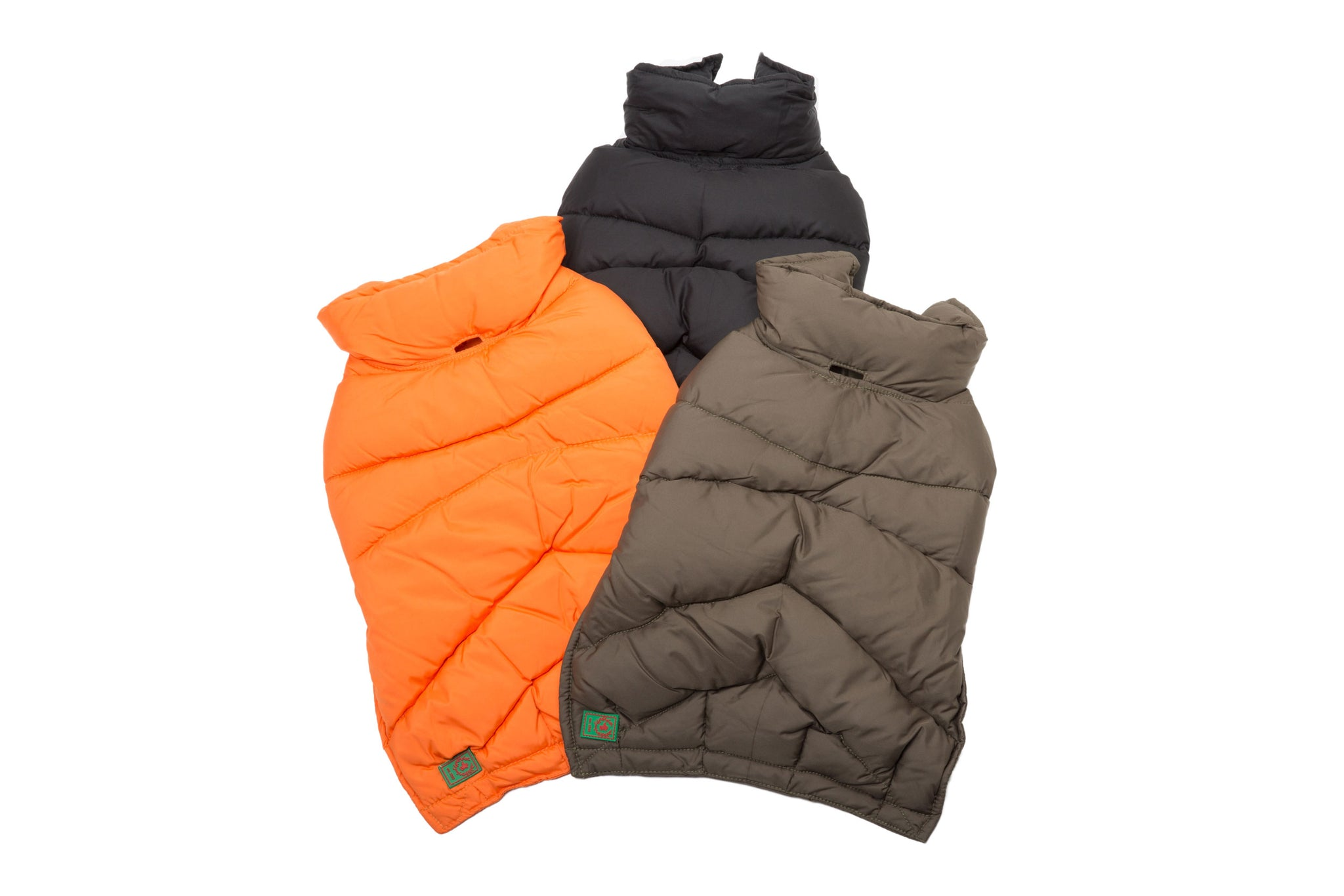 Down Puffer Coat Orange, Loden & Black