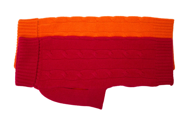 Cashmere Dog Sweater - Black, Red & Orange