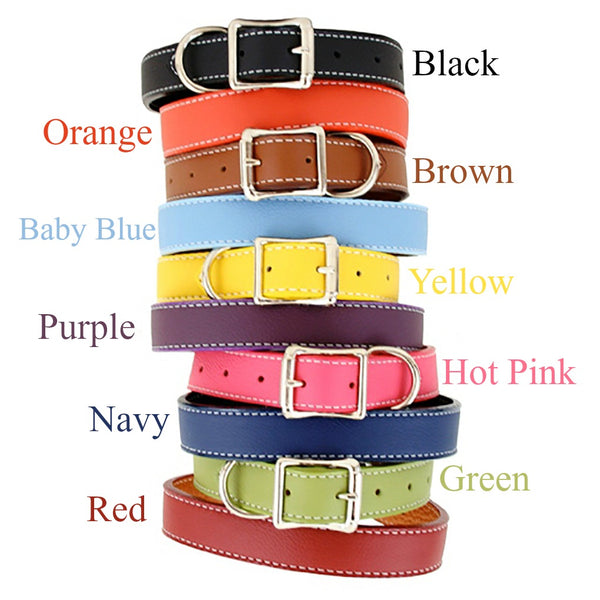 Auburn Dog Collar - Dog Collar, Soft Leather, 10 Colors