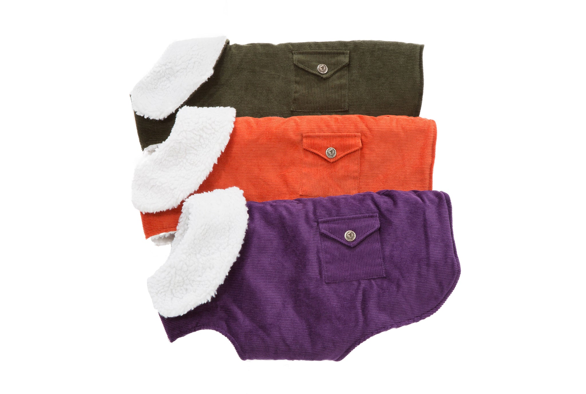 Purple, Green, Orange Corduroy Dog Coats