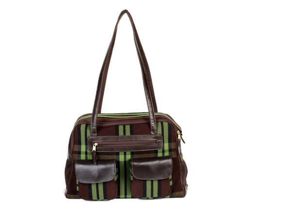 Dog Carrier - Sale - Wool Green Plaid and Chocolate