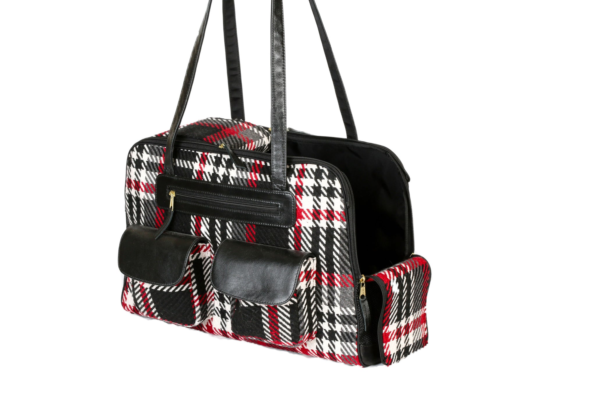 Dog Carrier - Black and Red Wool Plaid