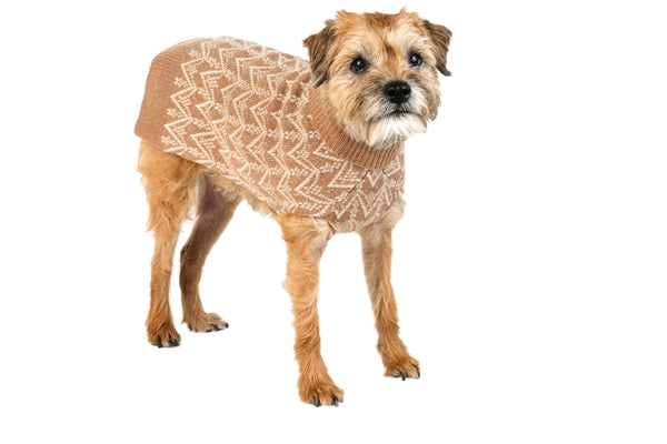 Cashmere Dog Sweater - Herringbone Beige & Cream