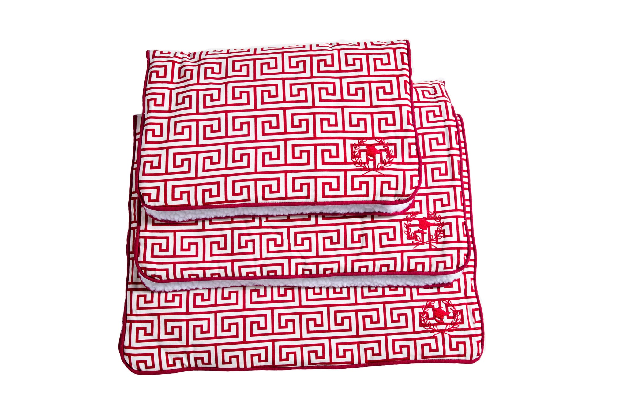 Canine Styles - Crate Mat - Red Canvas Greek Key
