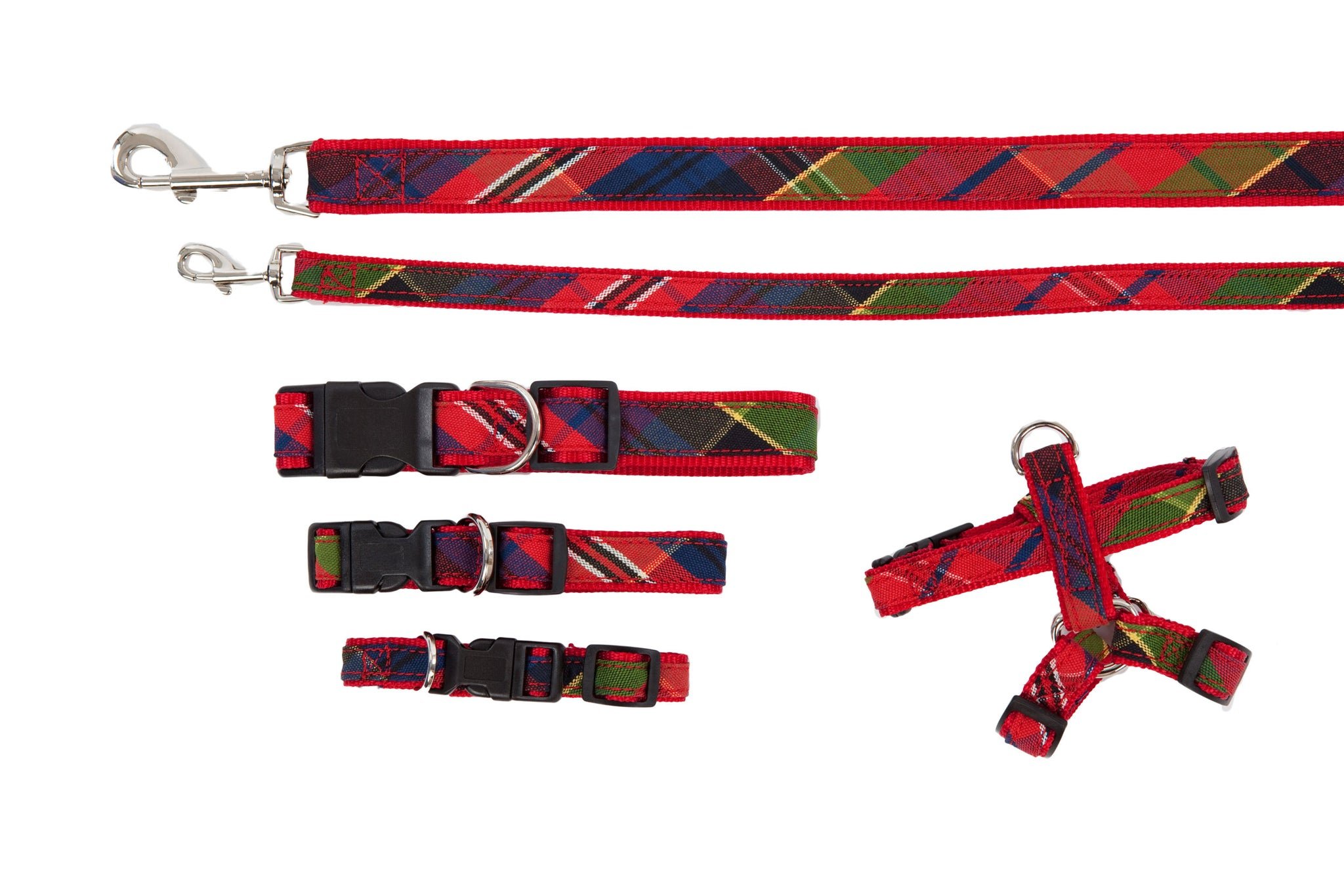 Signature Collection - Dog Collars, Harnesses, Leads - Red & Green Tartan