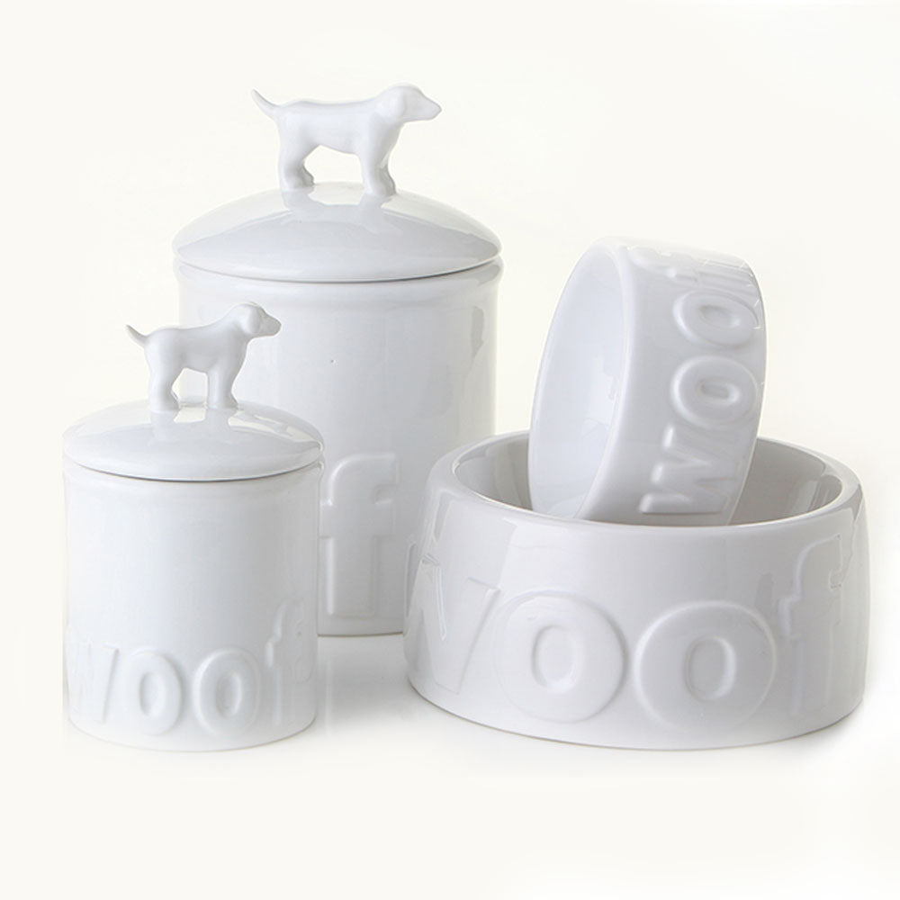 "Ceramic Treat Jar - Dog Jar - ""Woof"""