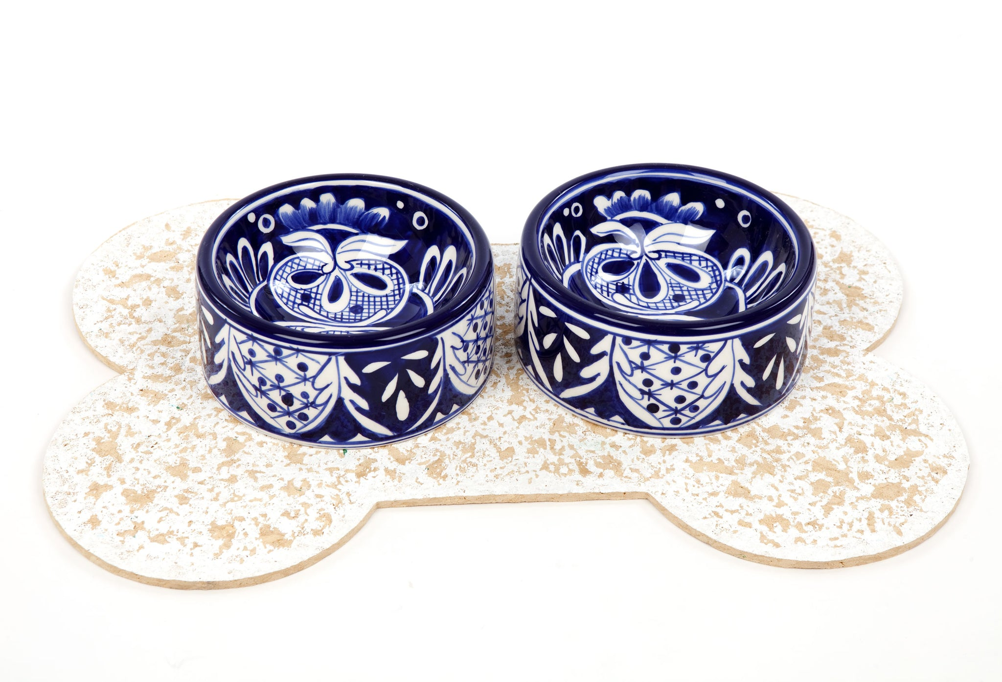 Mexicana Pattern - Blue and White - Dog Bowl