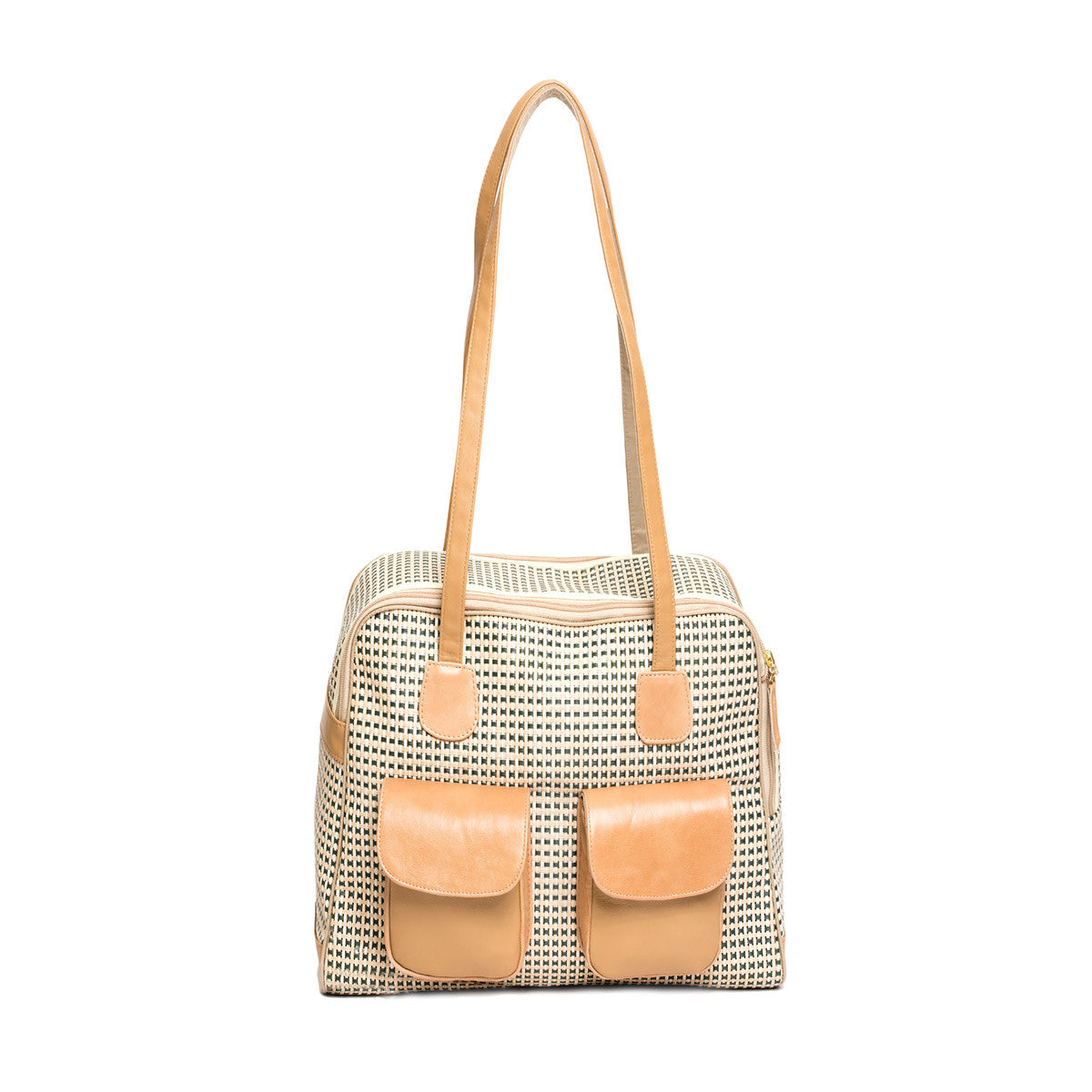 "Beige Multi Color ""See Through"" Mesh Carrier w/ Leather Trim"