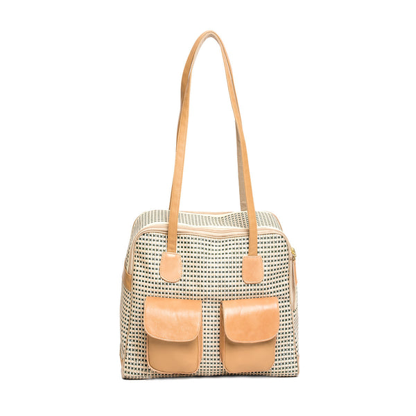 "Dog Carrier - All Mesh Spring/Summer - Beige/Green Multi Mesh - ""See Through"" -  Leather Trim"