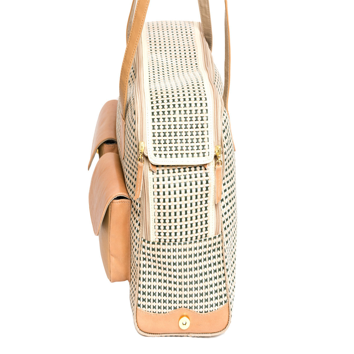 "Spring/Summer - All Mesh Spring/Summer - Beige/Green Multi Mesh - ""See Through"" -  Leather Trim"