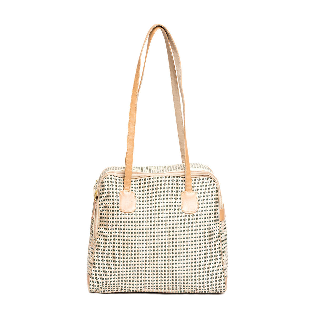 "Dog Carrier - Spring/Summer - All Mesh Spring/Summer - Beige/Green Multi Mesh - ""See Through"" -  Leather Trim"