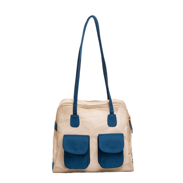"Dog Carrier - Beige Mesh w/ blue canvas | ""See Through""  