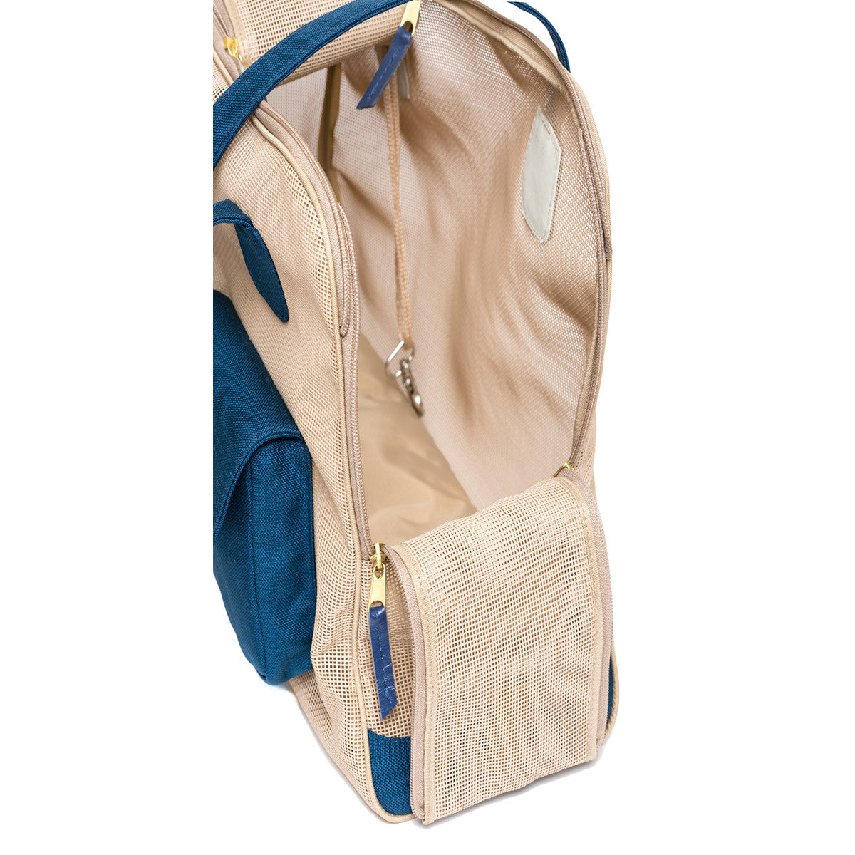 "Dog Carrier - All Mesh Spring/Summer - Beige w/ Blue Canvas - ""See Through"""