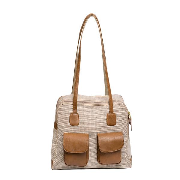 "Beige & Brown Mesh ""See Through""  Carrier w/ Leather Trim"