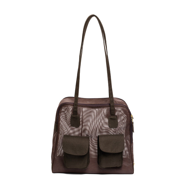 "Brown Mesh ""See Through"" Carrier w/ Canvas Trim"