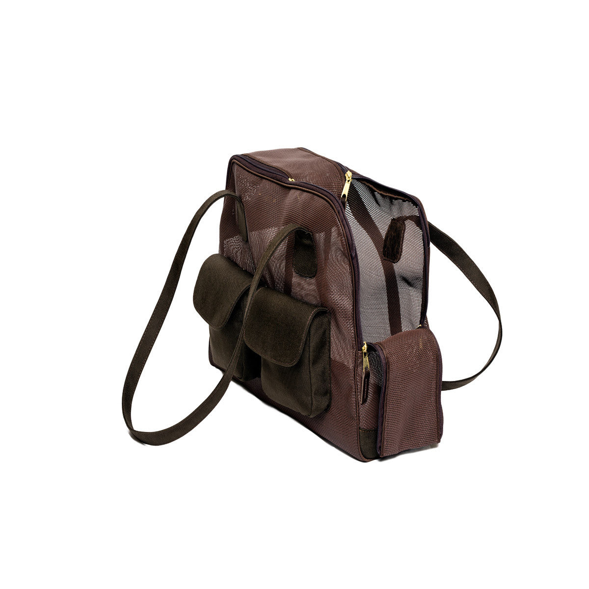 "Dog Carrier - All Mesh Spring/Summer - Brown Carrier, ""See Through"", w/ Canvas Trim"