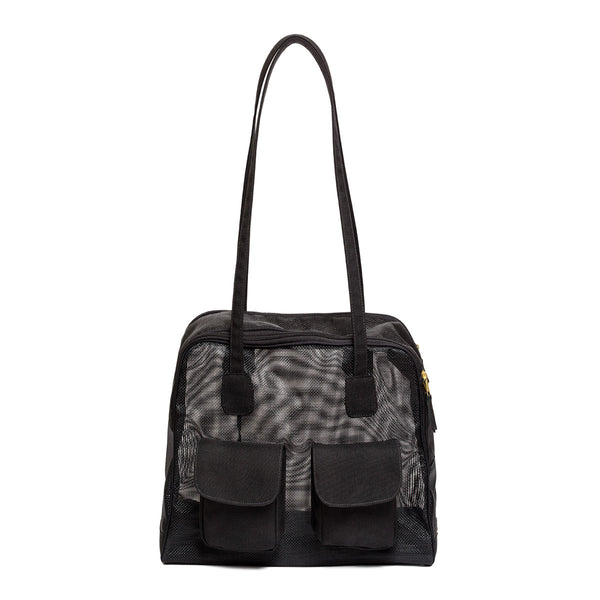 "Dog Carrier - Spring/Summer - All Mesh Spring/Summer - Black Mesh, ""See Through"" Bag"