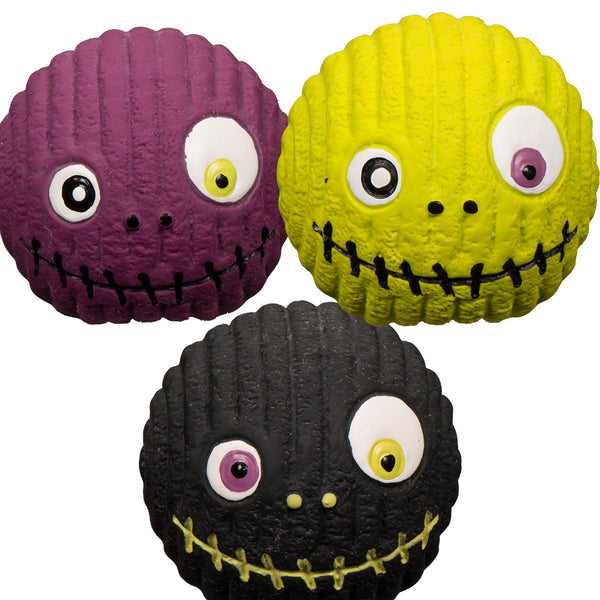 Halloween Toy Zombie Ball Ruff-Tex Assortment, Small (Violet, Black, Yellow)