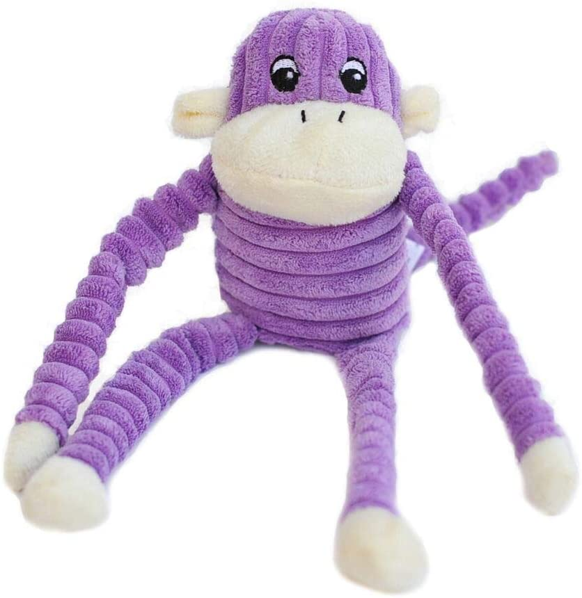 Mini - Pink or Purple Crinkle Monkey -  Dog Toy