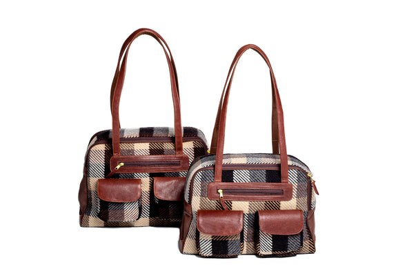 Dog Carrier - Wool Brown, Tan & Navy Plaid - & Coat