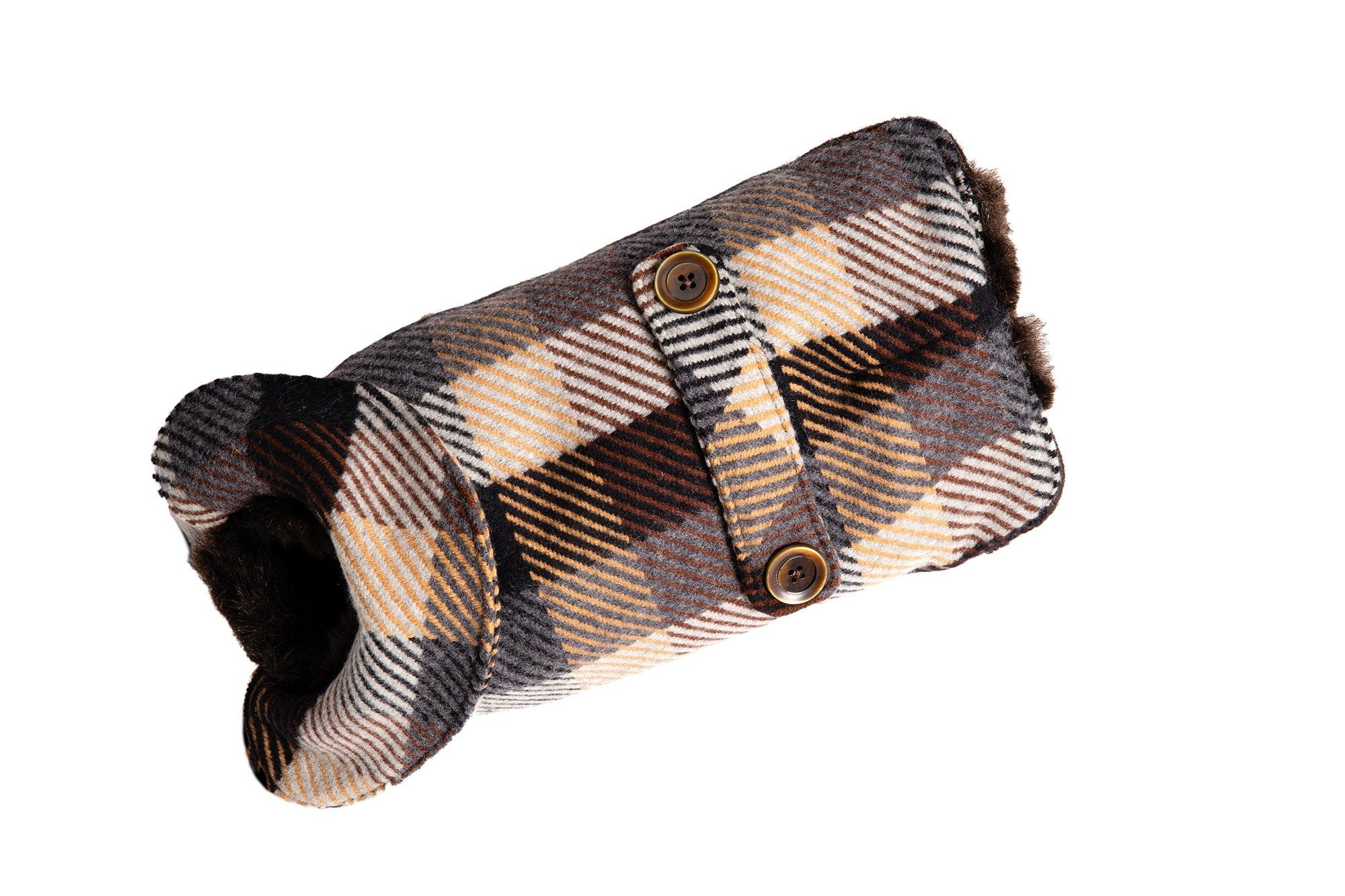 Dog Carrier - Brown, Tan & Navy Wool Plaid - & Coat