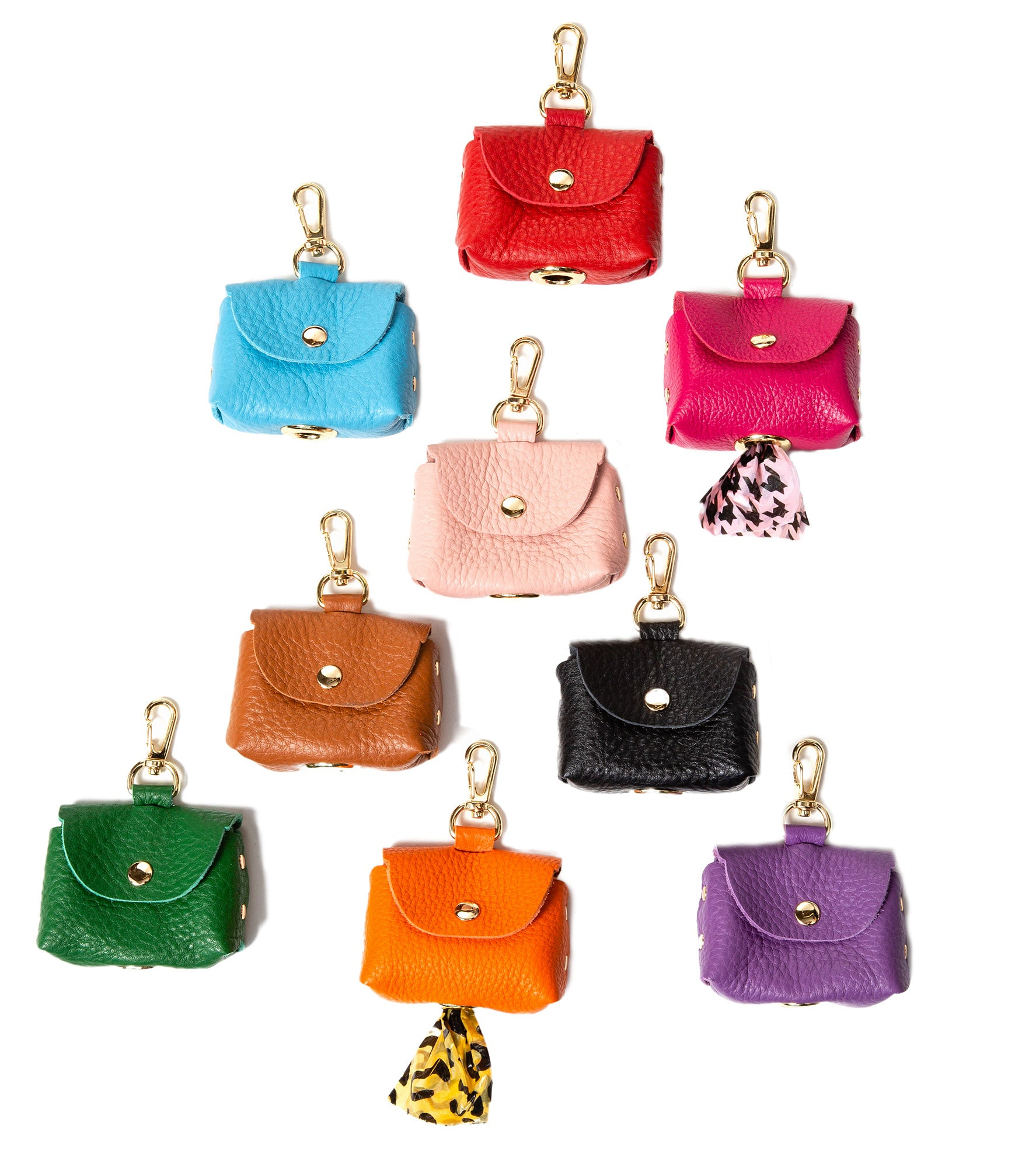 Fine leather Bag Holders - 6 Color Options - Poop Bag Holder