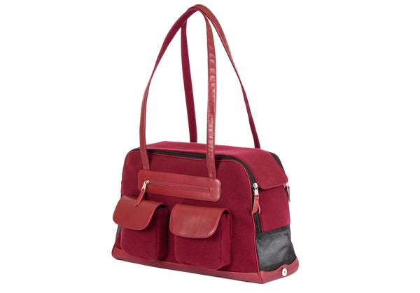 Dog Carrier - Winter - Cashmere/Wool Blend w/ Leather Straps - 4 Color Options
