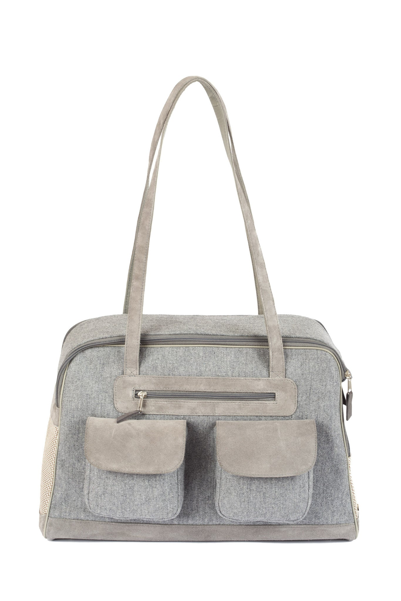 Dog Carrier - Wool/Cashmere Blend w/ Leather Straps - 4 Color Options