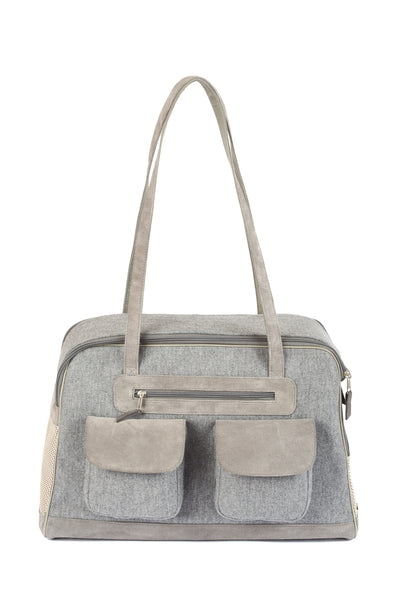 Carrier | Cashmere/Wool Blend w/ Leather Straps | Dog Carrier | 4 Color Options