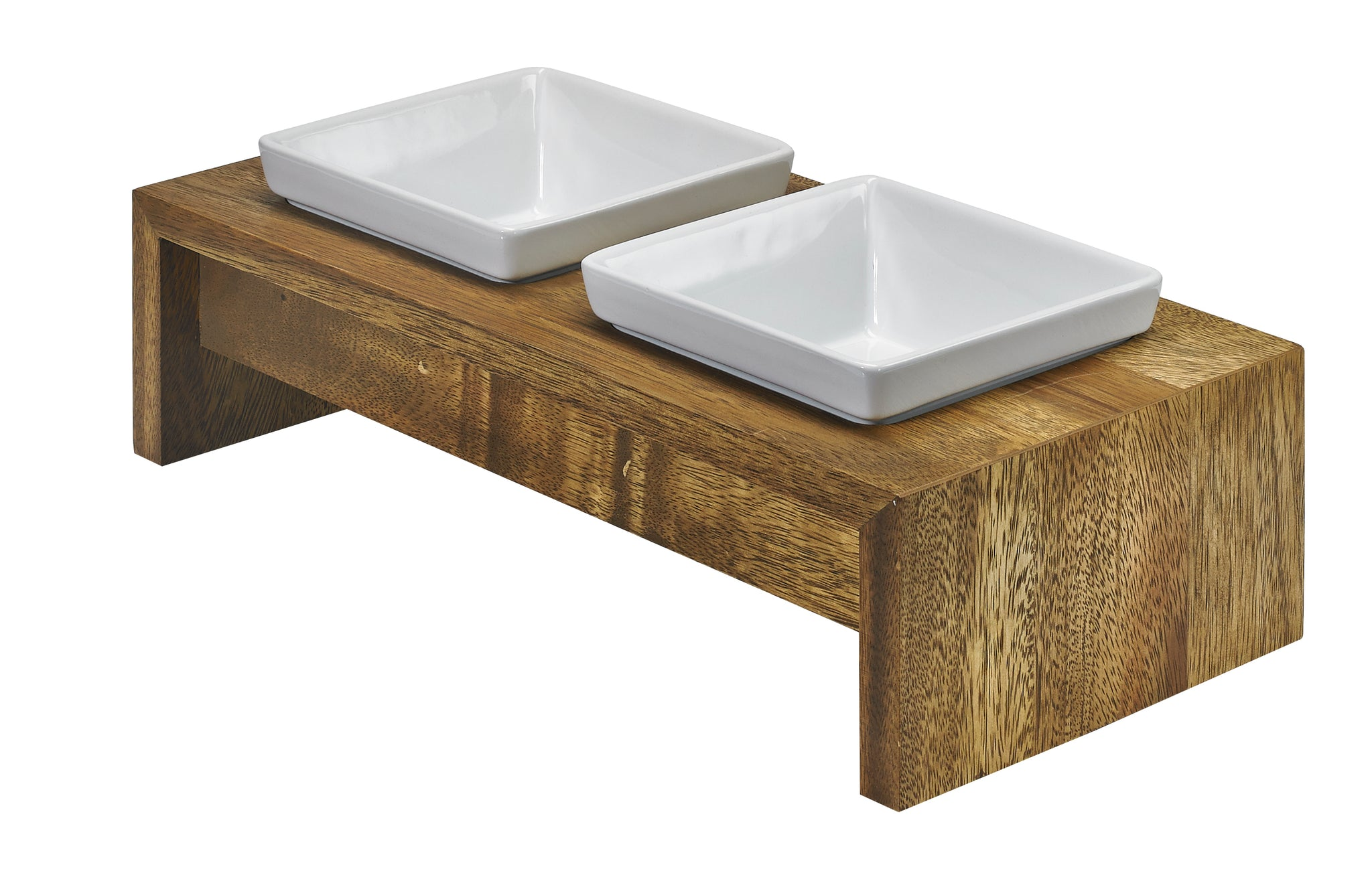 Double Dog Feeder - Dog Bowl - Bamboo Set & Walnut Set