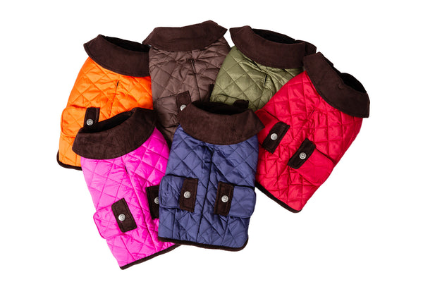 80b54c58242ce Dog Coats · Reset · Barn Coat w Brown Corduroy Collar - 6 Color Options