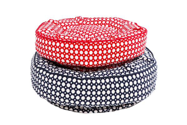 Canine Styles - Navy Sunburst Pattern - Red Sunburst Pattern - Dog Bed