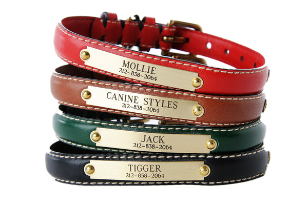 Dog Collars - Classic Flat Leather - Personalized Engraved - 5 Color Options