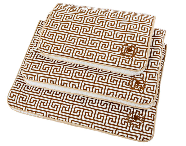 Canine Styles - Crate Mat - Tan Canvas Greek Key