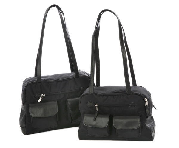 Dog Carrier - Cargo Carrier - Black Nylon Lightweight Carrier Bag
