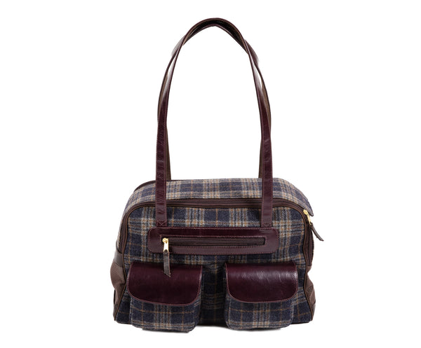 Fall - Dog Carrier - Gray & Navy Wool Plaid