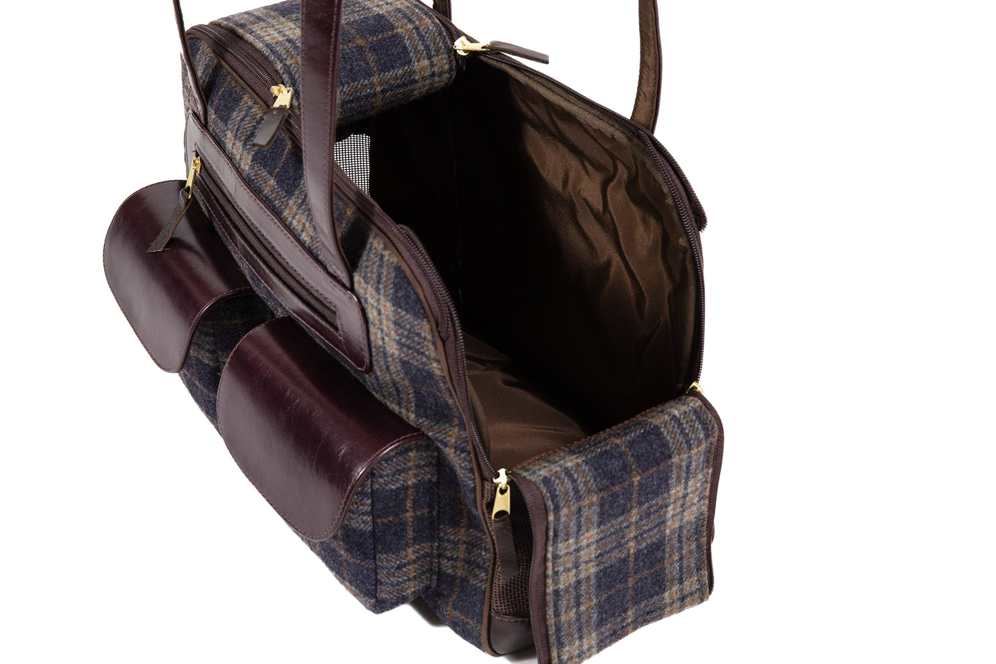 Dog Carrier - Gray & Navy Wool Plaid