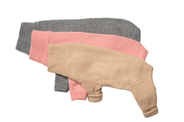 Cashmere Tracksuit Sweater - Camel, Gray & Pink Cashmere