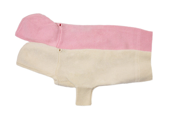 Cashmere Hooded Dog Sweater - Pink and Winter White