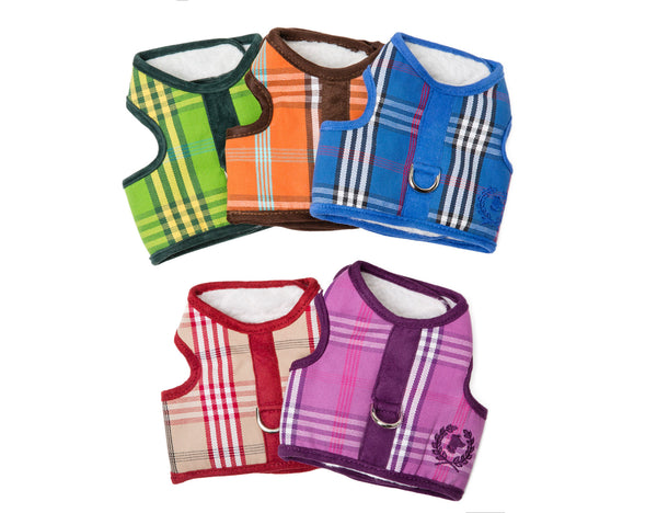 Canine Styles SHERPA LINED Body Harnesses in Signature Plaids - NEW!!
