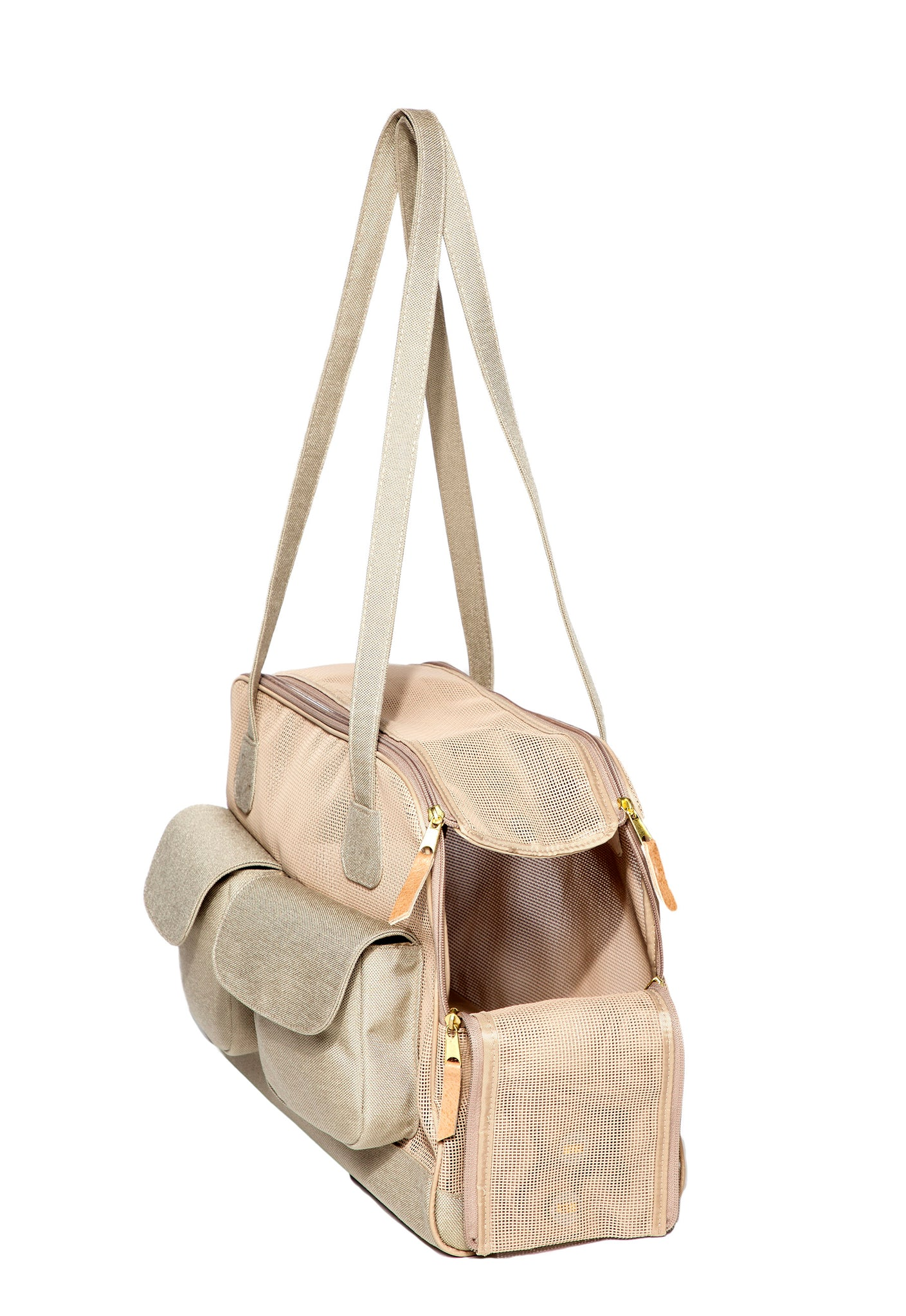 Dog Carrier - All Mesh Spring/Summer - Beige w/Black Canvas - w/Beige Canvas