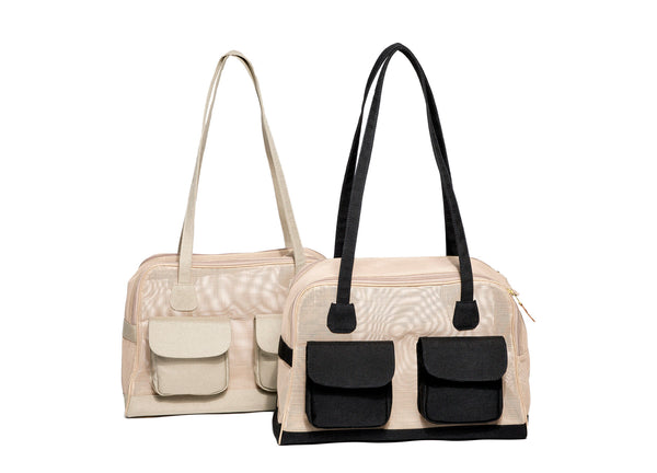 Dog Carrier - Spring/Summer - All Mesh Spring/Summer - Beige w/Black Canvas - w/Beige Canvas