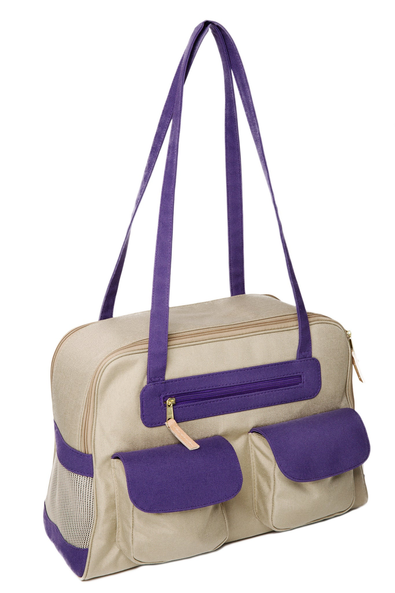 Spring/Summer - Beige Canvas Dog Carrier w/Colored Canvas Trim - 4 Color Options